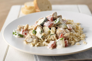 Creamy Italian Chicken and Orzo Skillet of Shel - Recipefy