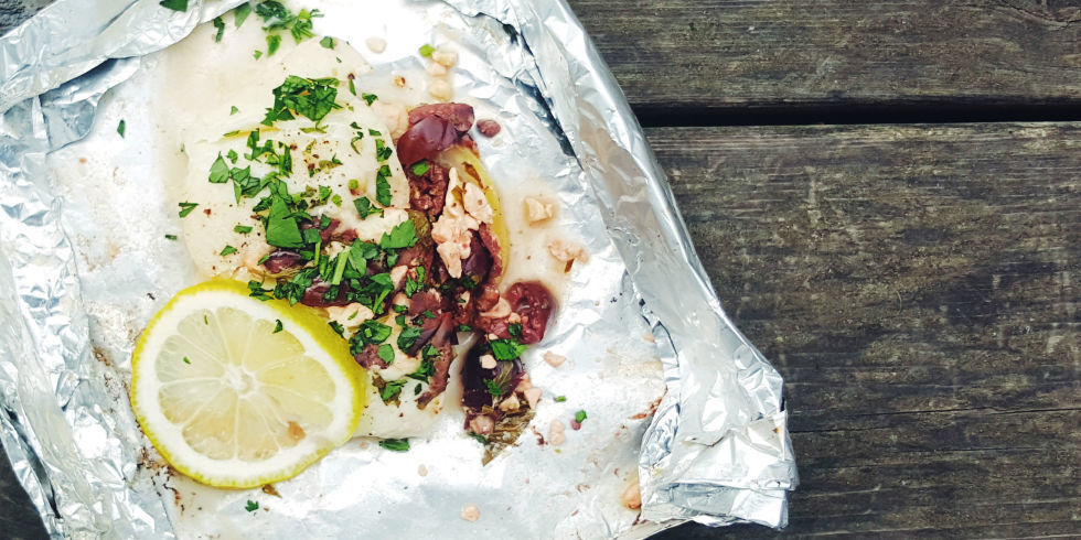 Foil Pack Halibut with Feta and Olives of Schalene Dagutis - Recipefy