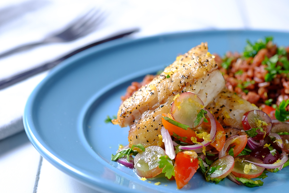 Pan-Fried Snapper Fillet with Fresh Grape Salsa of MyNutriCounter - Recipefy