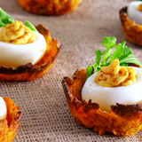 Low-fat-deviled-eggs-on-sweet-potato-nests