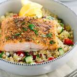 Mediterranean-spiced-salmon-over-vegetable-quinoa