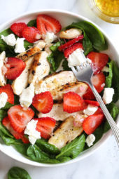 Grilled Chicken Salad with Strawberries and Spinach  of Dawn Khan - Recipefy